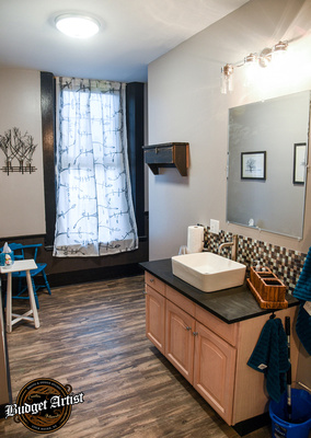 The full bath changing area offers privacy, ample lighting, large mirrors and a clothing rack. Multiple outfits aren't an issue.